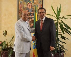 Mo Ibrahim with Ethiopian cadre Redors Adhanom